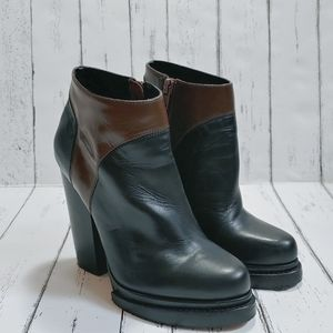 ALDO Black and brown leather heeled booties